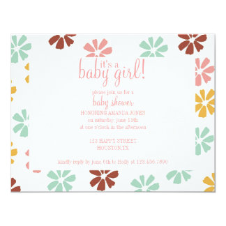 Spring Flowers Baby Girl Shower Invititation Card