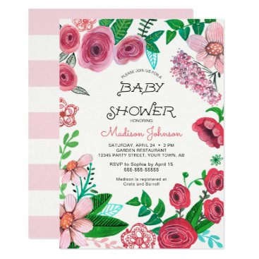 Toddler & Baby themed Spring Flowers   Baby Shower   Invitation