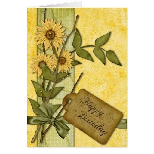 Spring Flowers Birthday Greeting Card