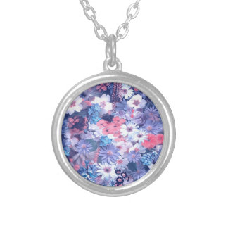 spring flowers,blue round pendant necklace