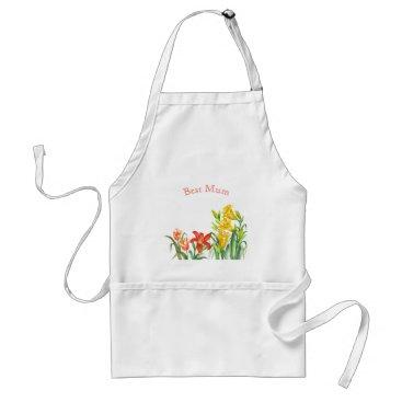 Professional Business Spring Flowers Botanical Illustration Adult Apron