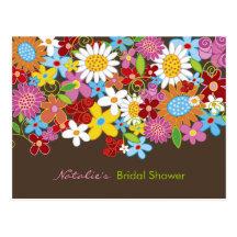 Spring Flowers Bridal Shower Invitation Postcard Postcard