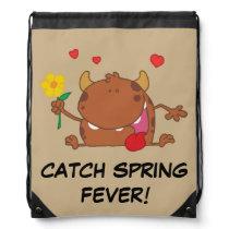 Spring Flowers Brown Monster Drawstring Bag