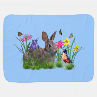 Spring,  Flowers, Butterflies, and Bunny Rabbit Swaddle Blanket