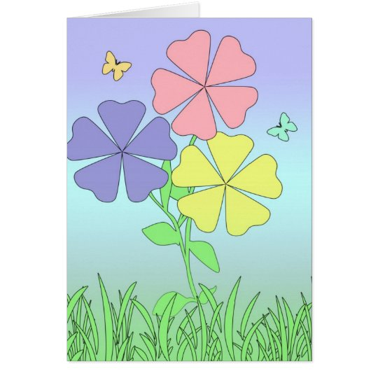 Spring Flowers & Butterflies Card