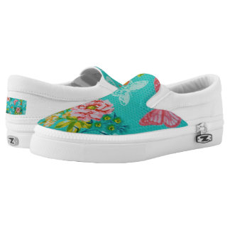 Spring Flowers & Butterflies Zipz Slip-On Shoes Printed Shoes