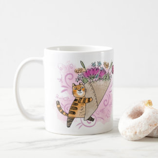 Spring flowers cat coffee mug