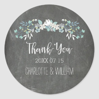 Spring Flowers Chalkboard Wedding Favor Tags Classic Round Sticker