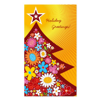 Spring Flowers Christmas Tree Thank You / Gift Tag Business Card