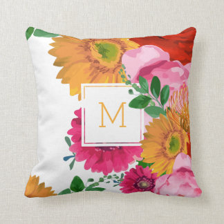 Spring Flowers Collage Watercolors Illustration Throw Pillow