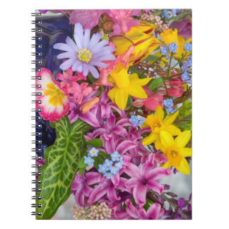 SPRING FLOWERS COLORFUL ASSORTMENT NATURE BEAUTY SPIRAL NOTEBOOK
