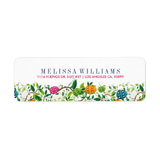 Spring Flowers & Colorful Easter Eggs Label