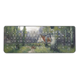 Spring Flowers Cottage in Trees Wireless Keyboard