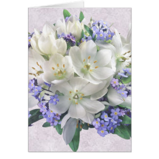 Spring flowers Crocuses and Forget-me-not Card