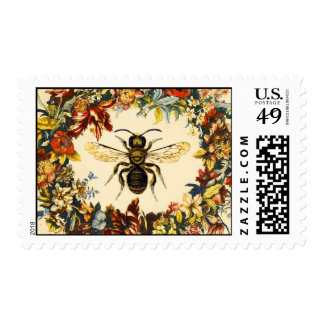 SPRING FLOWERS CROWN WITH HONEY BEE POSTAGE