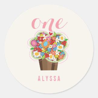 Spring Flowers Cupcake Girl 1st Birthday Sticker