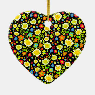 Spring Flowers Double-Sided Heart Ceramic Christmas Ornament