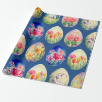Spring Flowers Easter Eggs Wrapping paper