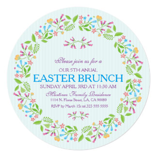Spring Flowers Easter Wreath Brunch Invite 2