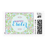 Spring Flowers Easter Wreath Brunch Invite 2 Postage Stamps