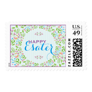 Spring Flowers Easter Wreath Brunch Invite 2 Postage