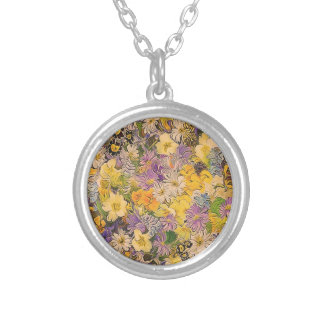 spring flowers,effect round pendant necklace