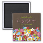 Spring Flowers Floral Garden Wedding Annnouncement 2 Inch Square Magnet