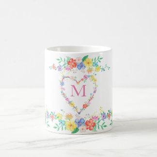 spring flowers floral initial monogram watercolor coffee mug