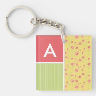 Spring Flowers; floral Square Acrylic Keychain