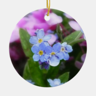 Spring Flowers - Forget Me Nots And Redbuds Ceramic Ornament