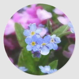 Spring Flowers - Forget Me Nots And Redbuds Round Stickers