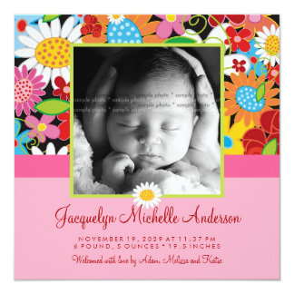 "Spring Flowers Garden Baby Girl Birth Announcement 5.25"" Square Invitation Card"