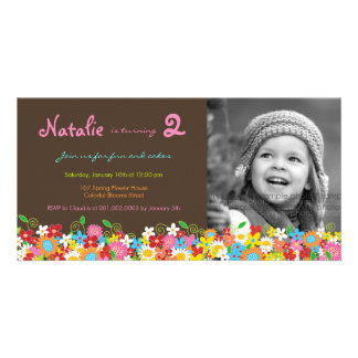 Spring Flowers Garden Birthday Invite Photo Card