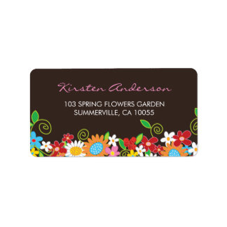 Spring Flowers Garden Bridal Shower Address Labels