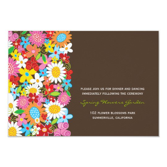 Spring Flowers Garden Chic Wedding Reception Card