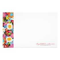 Spring Flowers Garden Custom Stationery Paper