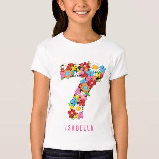 Spring Flowers Garden Cute Girl 7th Birthday Party T-Shirt