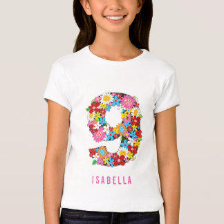 Spring Flowers Garden Cute Girl 9th Birthday Party T-Shirt