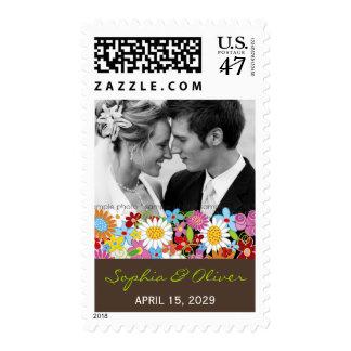 Spring Flowers Garden Elegant Photo Wedding Stamp