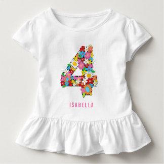Spring Flowers Garden Four Girl 4th Birthday Party Toddler T-shirt