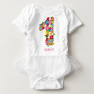 Spring Flowers Garden One Girl 1st Birthday Party Baby Bodysuit