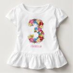 Spring Flowers Garden Pink Girl 3rd Birthday Party Tee Shirt