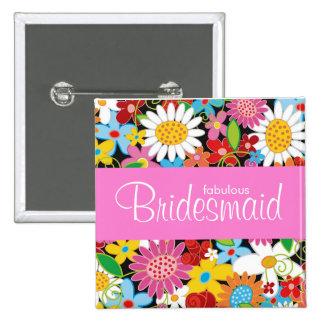 Spring Flowers Garden Wedding Bridesmaid Name Tag Pinback Button