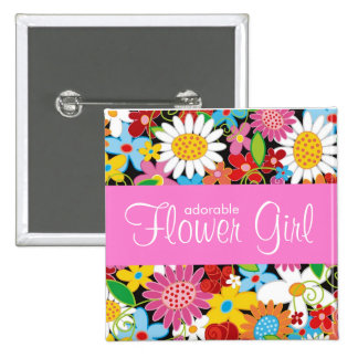 Spring Flowers Garden Wedding Flower Girl Name Tag 2 Inch Square Button