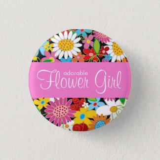Spring Flowers Garden Wedding Flower Girl Name Tag Button