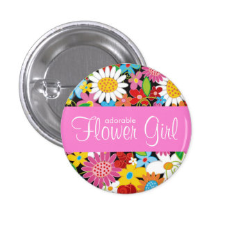 Spring Flowers Garden Wedding Flower Girl Name Tag Button