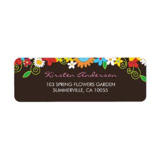 Spring Flowers Garden Wedding Shower Address Labe Label