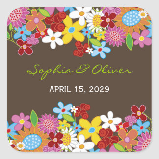 Spring Flowers Garden Whimsical Wedding Favors Square Sticker
