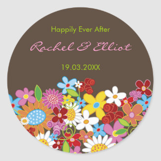 Spring Flowers Garden Whimsical Wedding Favors Classic Round Sticker
