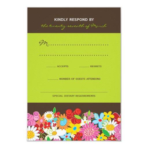 Spring Flowers Garden Whimsical Wedding RSVP Card